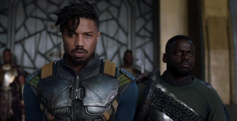 Michael B Jordan and Daniel Kaluuya in 'Black Panther' (credit: Marvel Studios)