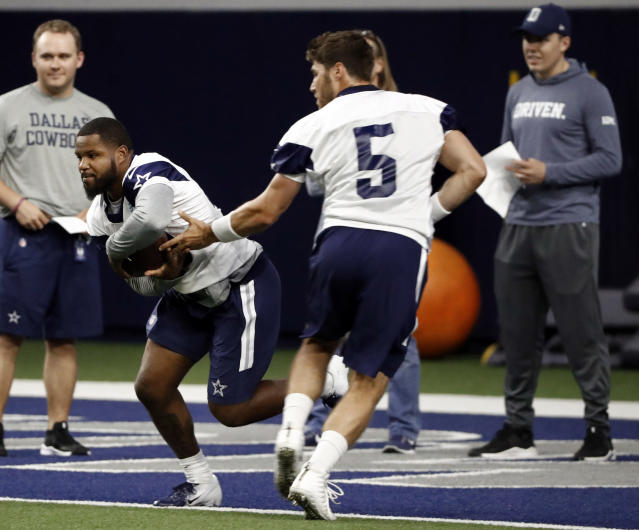 bc353f343e3 In this Friday, May 10, 2019 photo, Dallas Cowboys rookie running back Mike