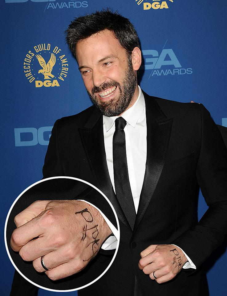"The other hand revealed a second note in black magic marker. It brought him good luck. Affleck picked up an award for directing ""Argo."""
