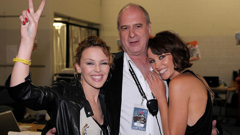 Michael Gudinski with Kylie and Dannii Minogue
