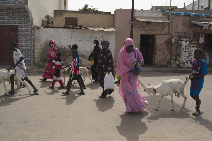 Adama Ndiaye, pulls a sheep gifted by the Secours Islamique France, in Bargny, Senegal, Wednesday, July 14, 2021. Ndiaye got up before dawn to travel about 25 miles, hoping that she would be able to get a sheep for Tabaski celebrations. As millions in Senegal prepare for Tabaski, health officials warn that COVID-19 cases are surging in the West African nation. (AP Photo/Leo Correa)