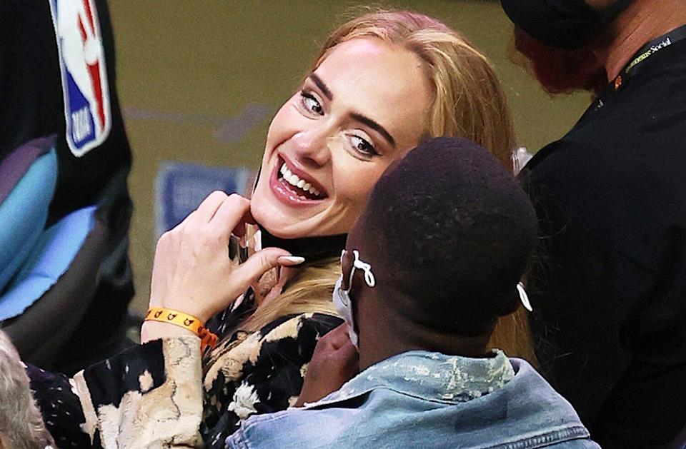 Adele smiles during the second half in Game Five of the NBA Finals between the Milwaukee Bucks and the Phoenix Suns at Footprint Center on July 17, 2021 in Phoenix, Arizona.
