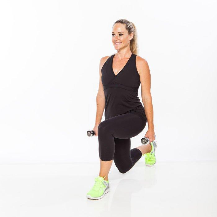 <ul><li>Stand with feet together, holding dumbbells by sides.</li> <li>Step one leg back, lowering into a lunge by bending both knees about 90 degrees, keeping good posture and abs tight.</li> <li>Return to start, and immediately repeat this full-body circuit workout move on opposite leg to comeplete one rep.</li> </ul><p><strong>Do 15 reps.</strong></p>