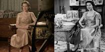 <p>For a moment as historic as the Queen's first televised Christmas speech, The Crown replicated her gold lamé tea dress. The identical frock even featured cap sleeves and a knotted bodice like the original. </p>
