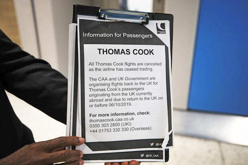 File photo dated 23/09/19 of an information notice put up at Manchester Airport as the 178-year-old tour operator Thomas Cook ceased trading. Thomas Cook's auditors are to be investigated over their role in signing off the last set of accounts for the travel firm prior to its collapse, the accounting regulator has announced.