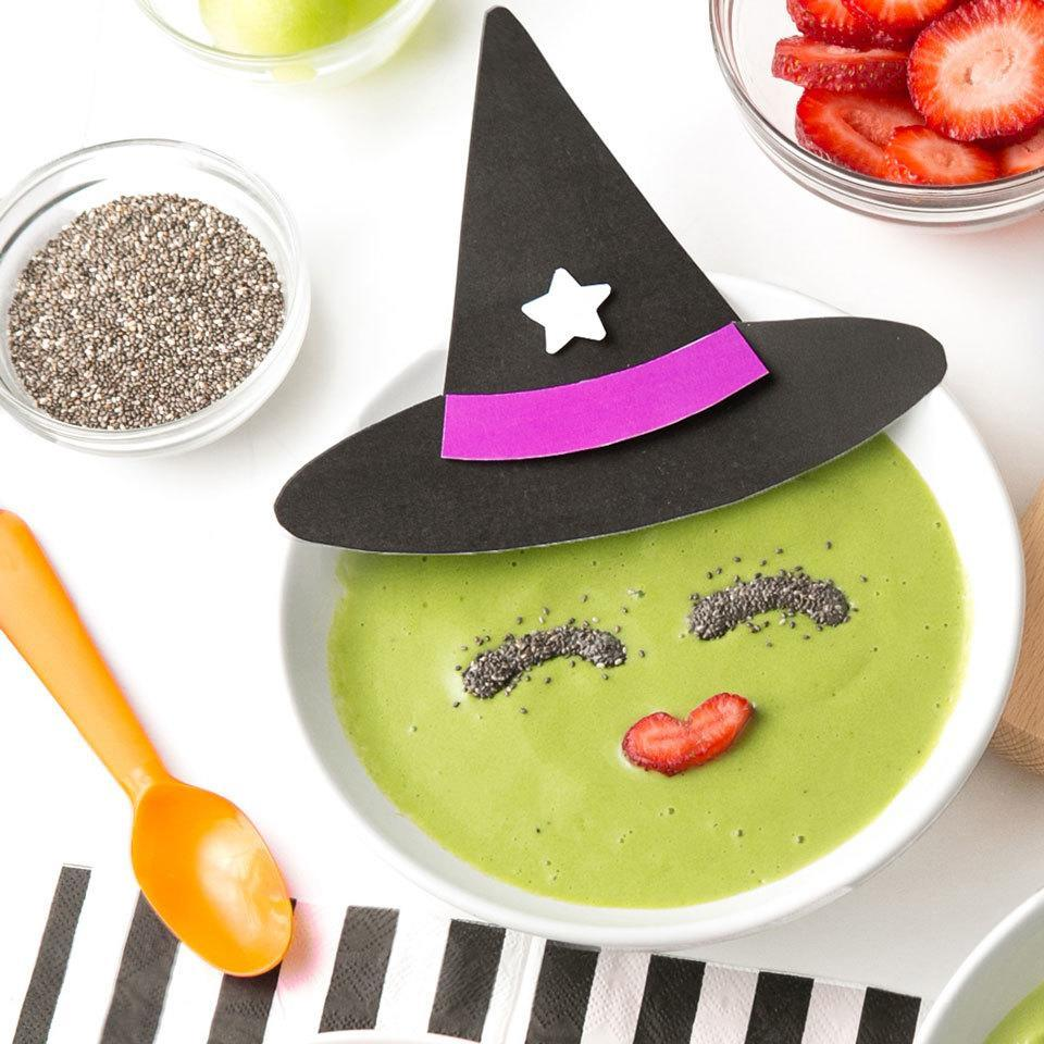 <p>Have a little Halloween fun at breakfast or snack time with this healthy fruit smoothie bowl that's topped with chia seeds and strawberry to look like a witch.</p>