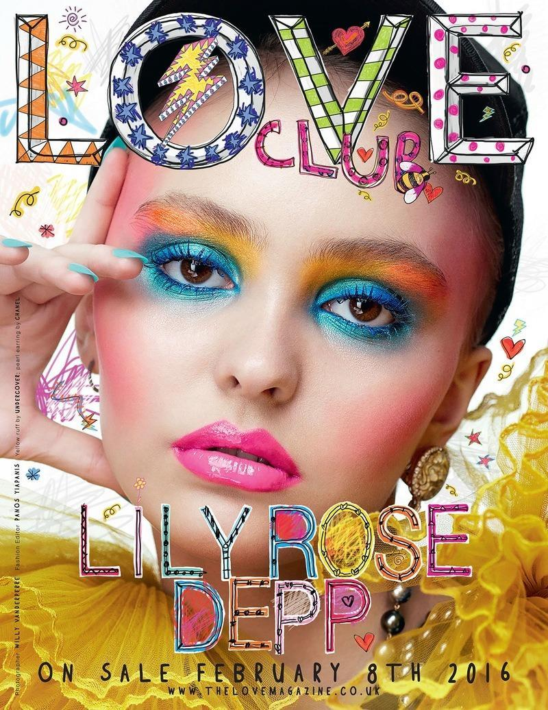 "<p>Starting 2016 off with a bang, Lily-Rose Depp appears on the cover of <i>LOVE </i>magazine's 15th issue, hitting newsstands on February 8. Shot by Willy Vanderperre, the image is a straight-on profile of the teenager's face covered in electric makeup. ""I don't have any plans in particular, I just know this is what I want to do and I want to work hard at it,"" s<a href=""http://www.thelovemagazine.co.uk/posts/5986/5-minutes-with-lily-rose-depp"" rel=""nofollow noopener"" target=""_blank"" data-ylk=""slk:he revealed of her acting career"" class=""link rapid-noclick-resp"">he revealed of her acting career</a>, ""and hopefully keep finding roles as beautiful as the ones I've already been lucky enough to come across."" <i>Photo: LOVE/Courtesy </i><br></p>"