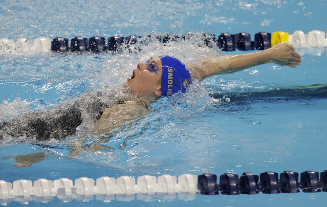 Olivia Smoliga competes in the women's 50-meter backstroke during an International Swimming League event Friday, Dec. 20, 2019, in Las Vegas. (AP Photo/John Locher)