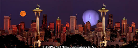A look at how the alien planet Kepler-36c might look from the surface of its near neighbor, Kepler-36b, with the Seattle skyline added for scale (right). At left, the moon looms over Seattle to give yet more perspective.