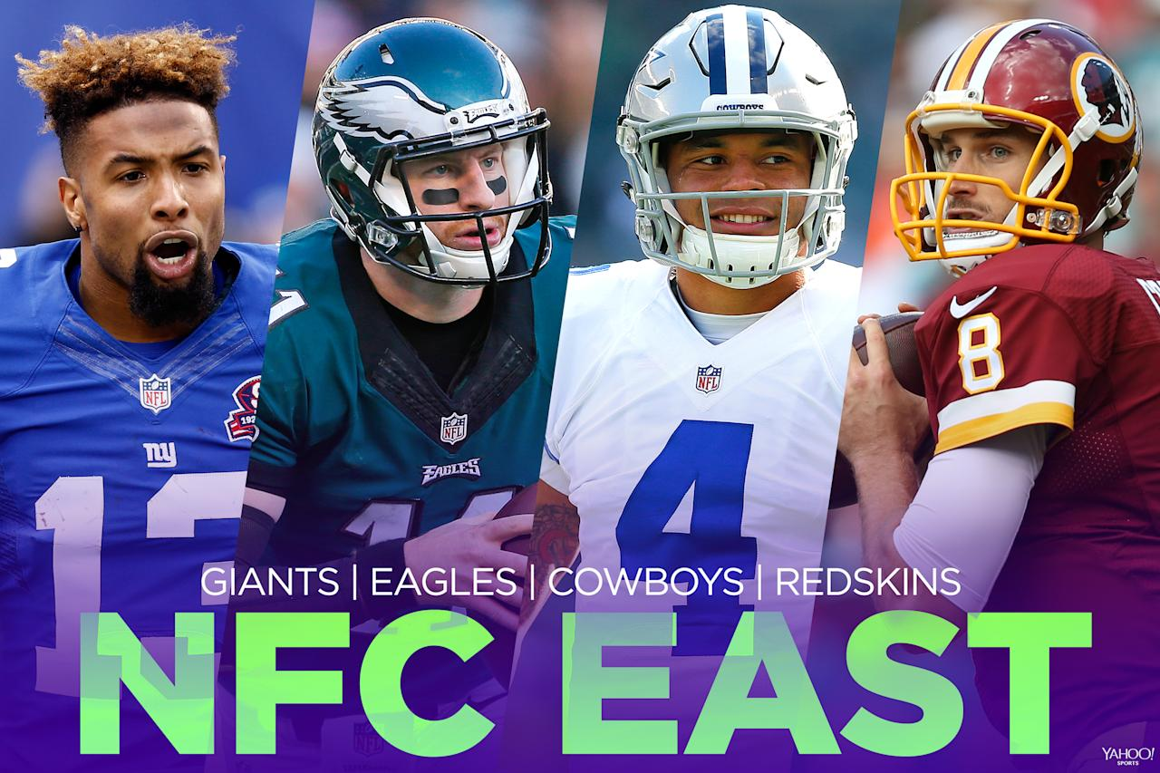 <p>The NFC East was pretty poor a couple years ago but has rebounded fast. Credit the quarterbacks: Dak Prescott's arrival was a boon to the Dallas Cowboys, Carson Wentz has revitalized the Philadelphia Eagles and Kirk Cousins' improvement has been great for the Washington Redskins (we'll see what happens with him next offseason). The New York Giants made the playoffs last season after hitting it big on some free-agent defensive stars. This should be a heck of a battle. </p>