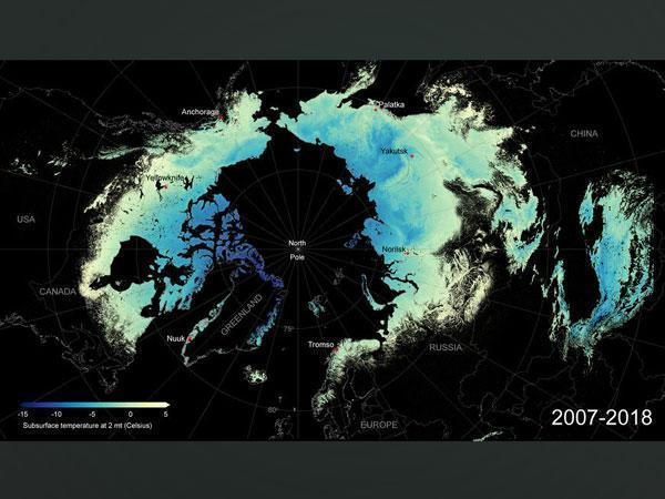 Depiction of average subsurface temperature (Image Source: Suropean Space Agency)