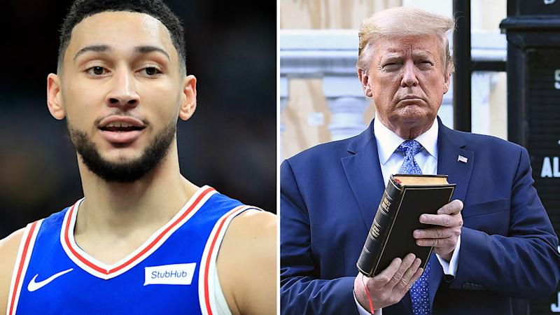 Seen here, NBA star Ben Simmons and American President Donald Trump.