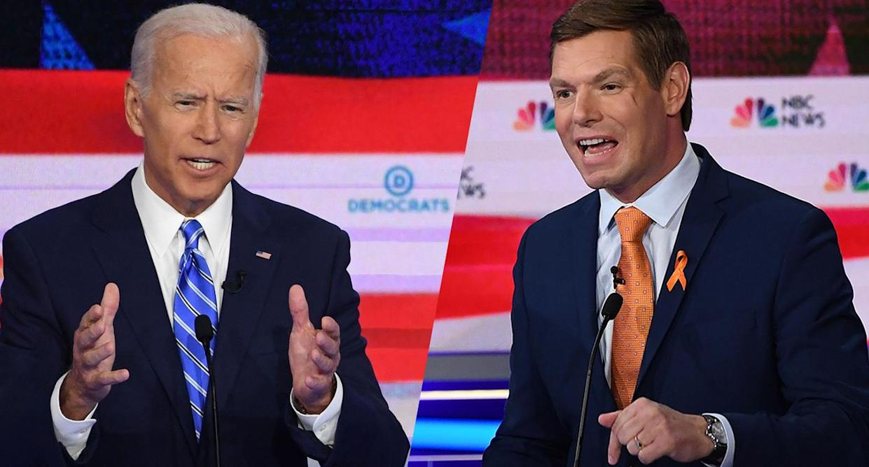 Joe Biden, left, and Eric Swalwell during the second Democratic primary debate. (Photo: Saul Loeb/AFP/Getty Images)