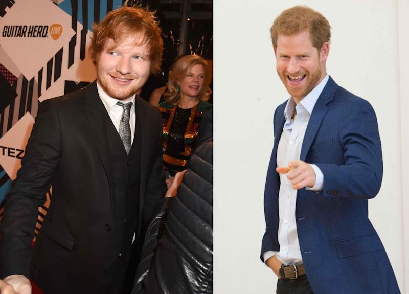 Ed Sheeran and Prince Harry are both very charming redheaded men. Source: Getty
