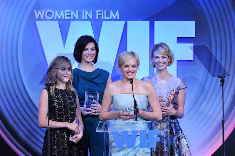 Actors (from left): Kiernan Shipka, Jessica Pare, Elisabeth Moss and January Jones attend the Women in Film's 2013 Crystal + Lucy Awards at The Beverly Hilton Hotel on Wednesday, June 12, 2013 in Beverly Hills, Calif. (Photo by Vince Bucci/Invision/AP)
