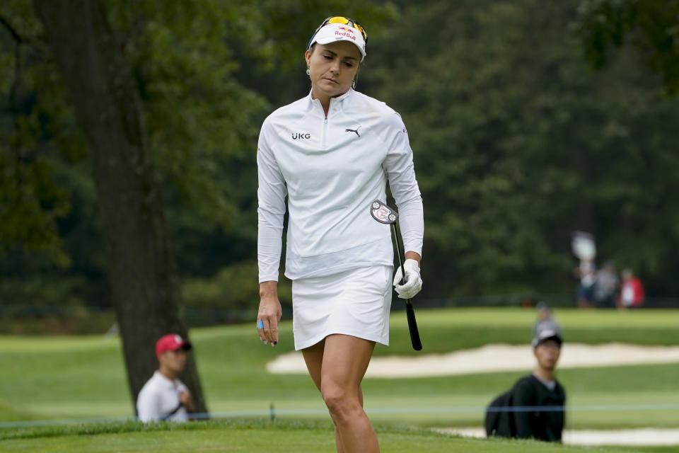 Lexi Thompson reacts after missing a putt on the fourth green in the first round of the Cognizant Founders Cup LPGA golf tournament, Thursday, Oct. 7, 2021, in West Caldwell, N.J. (AP Photo/John Minchillo)