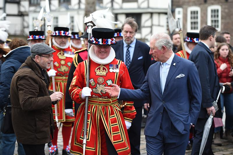 LONDON, ENGLAND - FEBRUARY 13: Prince Charles, Prince of Wales visits The Tower of London to mark 535 years since the creation of Yeoman Warders (Beefeaters) and join a reception with VisitBritain/ VisitEngland to celebrate 50 years of the British Tourist Authority on February 13, 2020 in London, England. (Photo by Eddie Mulholland - WPA Pool/Getty Images)