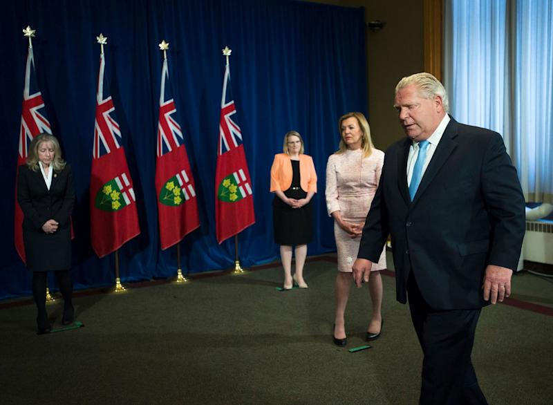 Ontario Premier Doug Ford leaves the podium after answering questions about a disturbing report from the Canadian military regarding COVID-19 outbreaks at Queen's Park in Toronto on May 26, 2020. (Photo: Nathan Denette/Canadian Press)