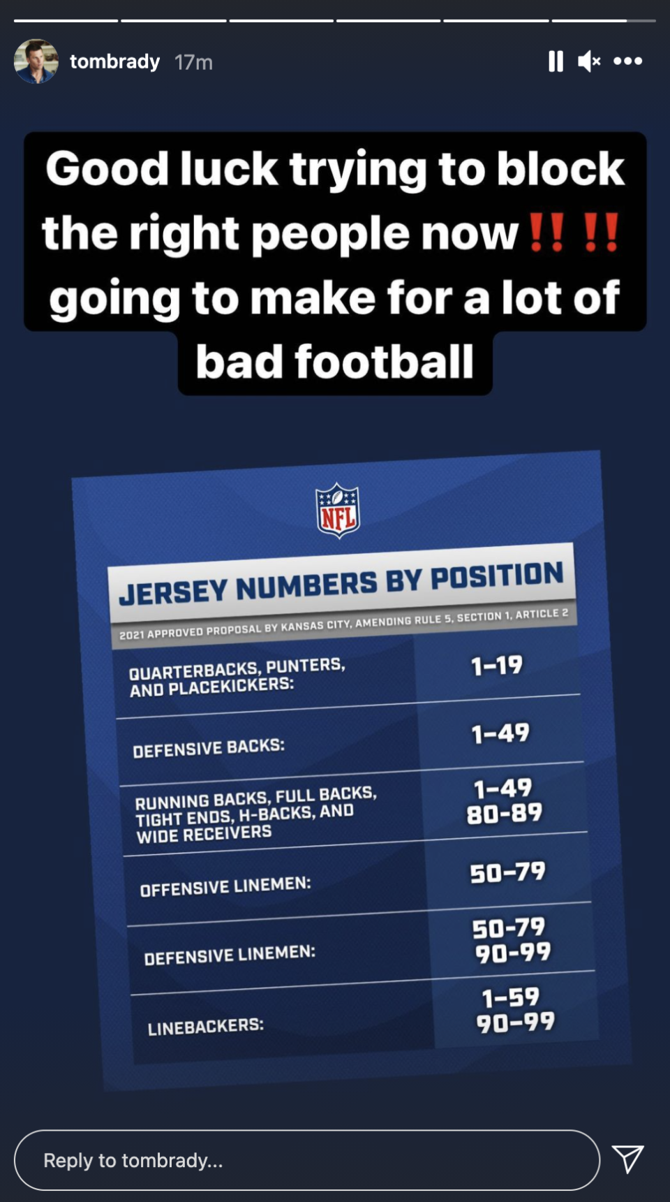 Tom Brady isn't a fan of the NFL's new number rule. (Screenshot from @tombrady on Instagram)