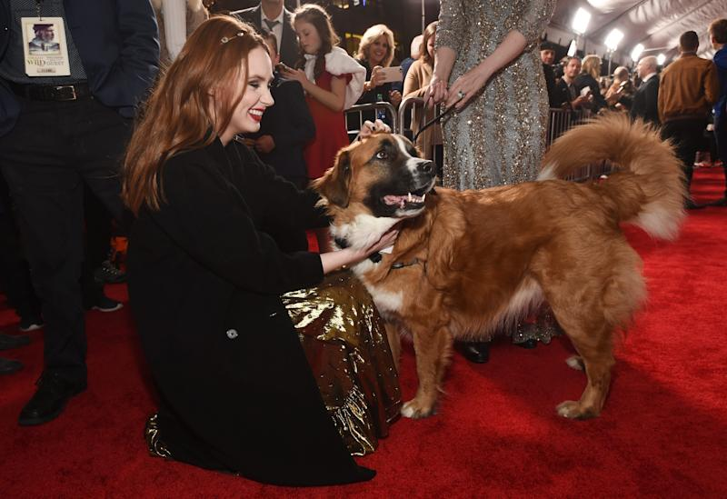 """Karen Gillan, a cast member in """"The Call of the Wild,"""" pets Buckley (now known as Buck), the St. Bernard mix upon whom the film's digital canine character is based."""