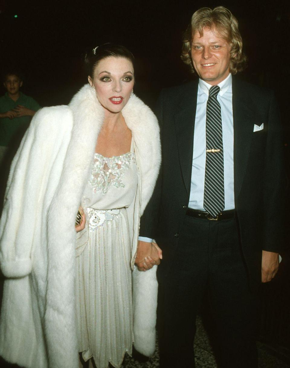 """<p><em>Dynasty</em> actress Joan Collins has been married <a href=""""https://www.thesun.co.uk/tvandshowbiz/3032160/joan-collins-net-worth-dynasty-husband-percy-gibson-son/"""" rel=""""nofollow noopener"""" target=""""_blank"""" data-ylk=""""slk:five times"""" class=""""link rapid-noclick-resp"""">five times</a>. Her first husband was actor Maxwell Reed, whom she married on May 24, 1952. She then married actor and singer-songwriter Anthony Newley in 1963, followed by businessman Ron Kass in 1972. In 1985 she married Swedish singer Peter Holm and divorced in 1987. She married her fifth (and current) husband producer Percy Gibson on February 17, 2002. </p>"""