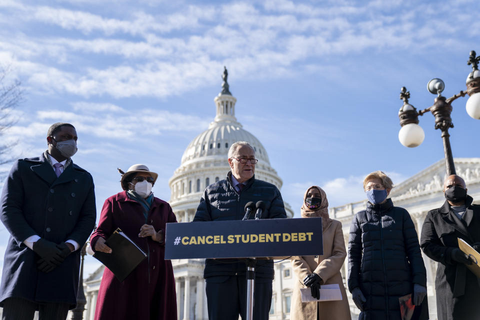 WASHINGTON, DC - FEBRUARY 4: Senate Majority Leader Chuck Schumer (D-NY) speaks during a press conference about student debt outside the U.S. Capitol on February 4, 2021 in Washington, DC. Also pictured, L-R, Rep. Mondaire Jones (D-NY), Rep. Alma Adams (D-NC), Rep. Ilhan Omar (D-MN), Sen. Elizabeth Warren (D-MA) and Rep. Ayanna Pressley (D-MA). The group of Democrats re-introduced their resolution calling on President Joe Biden to take executive action to cancel up to $50,000 in debt for federal student loan borrowers. (Photo by Drew Angerer/Getty Images)