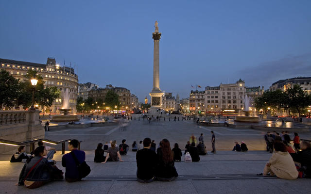This was taken on a nice early summer night in Trafalgar Square. Everything came together, the people were just enjoying being outdoors on a lovely eveing! - Photograph by Rick Wianecki , My Shot