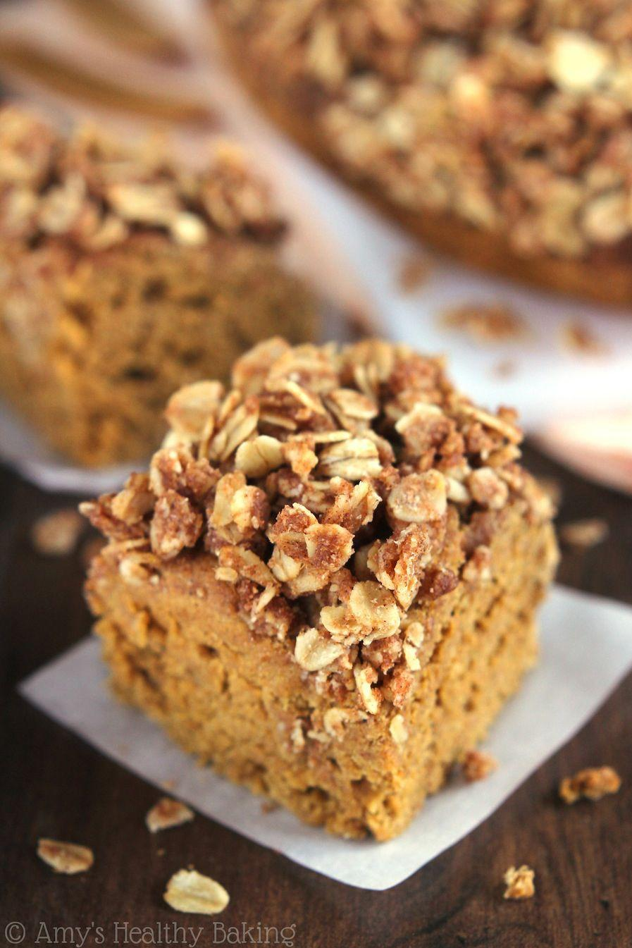 """<p>Sweet, rich, and covered in oats and cinnamon, this coffee cake is the best kind of comfort food.</p><p><strong>Get the recipe at <a href=""""http://amyshealthybaking.com/blog/2014/10/22/slow-cooker-pumpkin-streusel-coffee-cake/#.VE2b1b5U1FI"""" rel=""""nofollow noopener"""" target=""""_blank"""" data-ylk=""""slk:Amy's Healthy Baking"""" class=""""link rapid-noclick-resp"""">Amy's Healthy Baking</a>.</strong></p>"""