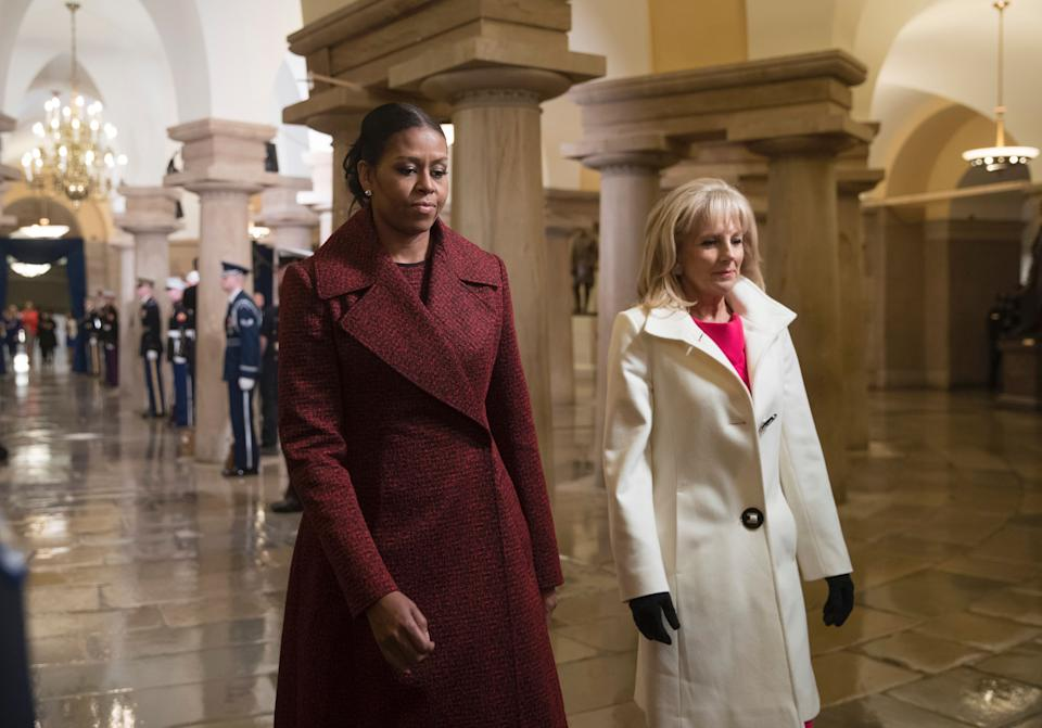 Michelle Obama and Jill Biden at Donald Trump's inauguration ceremony on Jan. 20, 2017. (Photo: AFP via Getty Images)