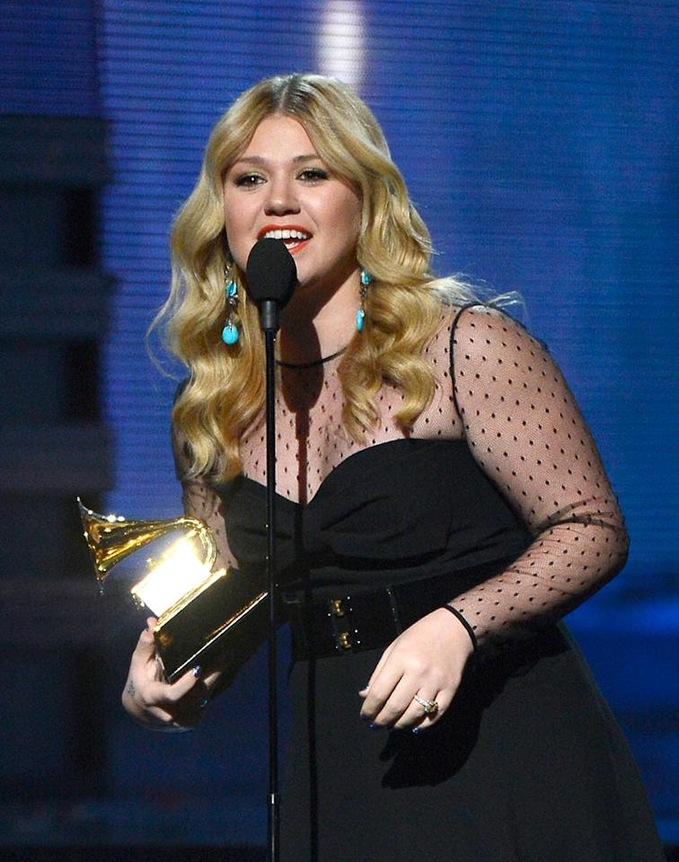 "Kelly Clarkson accepts Best Pop Vocal Album award for ""Stronger"" at the 55th Annual Grammy Awards at the Staples Center in Los Angeles, CA on February 10, 2013."