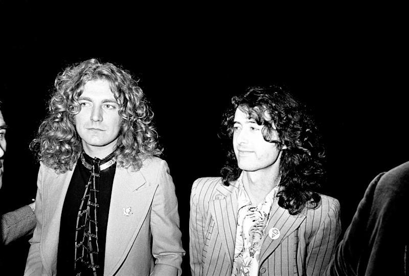 Robert Plant (left) with Jimmy Page, 1976.