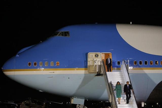 <p>President Donald Trump and First Lady Melania Trump arrive aboard Air Force One at Warsaw military airport in Warsaw, Poland July 5, 2017. (Photo: Laszlo Balogh/Reuters) </p>