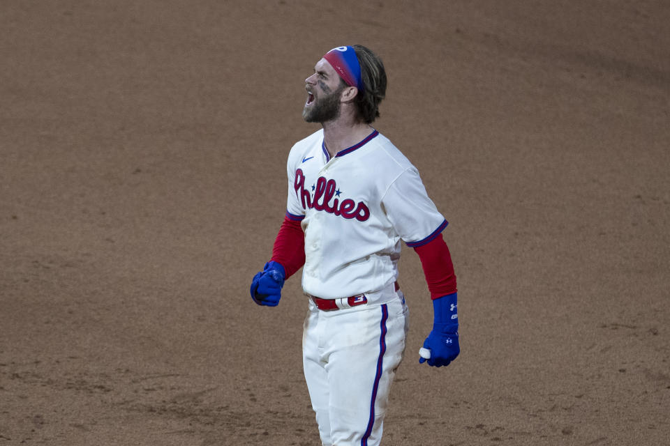 Bryce Harper homered for the third time in two days during Philadelphia's doubleheader sweep of Toronto. (Photo by Mitchell Leff/Getty Images)