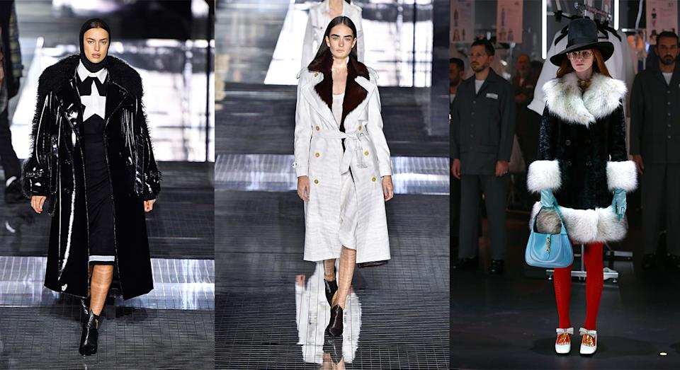 The trend was showcased at Burberry, as well as Gucci and Prada shows this Fashion Week. (Getty)