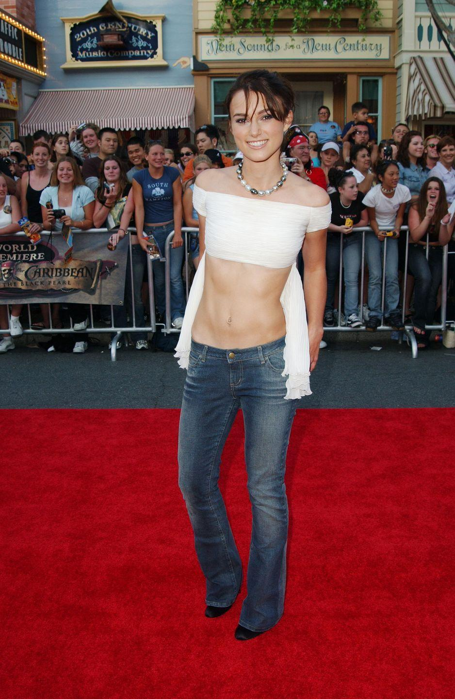 <p>At the premiere of the first <em>Pirates of the Caribbean</em> flick, Keira offered a twist on the classic backless top and went frontless instead. </p>