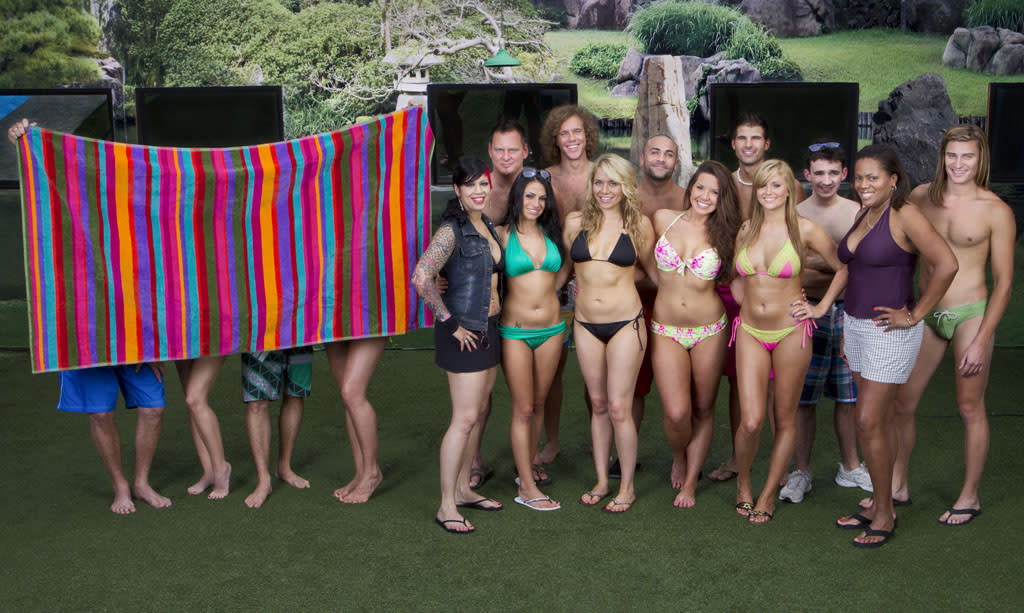 "On the right, we have this season's 12 new Houseguests (including Wil in that unfortunate green Speedo). And, on the left, we have four hidden players, two men and two women. The Twitterverse and diehard ""BB"" bloggers are speculating that four all-stars will be returning to the house this summer, and, from the looks of this picture, we'd have to agree. Let's just hope reigning Season 13 champion, Rachel Reilly, is one of them!"