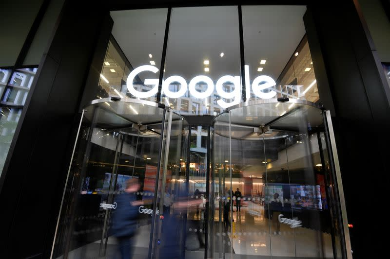FILE PHOTO: The Google name is displayed outside the company's office in London