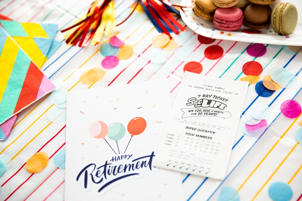 Picture of a card saying happy retirement with a lotto ticket. Source: The Lott