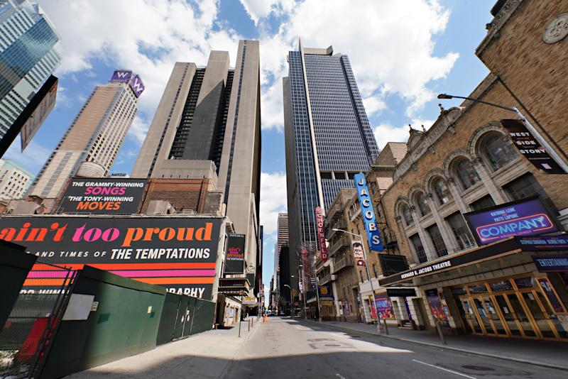 NEW YORK, NEW YORK - JUNE 29: A view of Broadway theaters on W. 45th Street on June 29, 2020 in New York City. Broadway will remain closed until 2021 due to the ongoing coronavirus pandemic. (Photo by Cindy Ord/Getty Images)