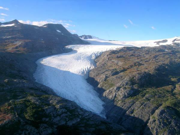 The Wolverine Glacier, near Alaska's south-central coastline, in a photograph from Sept. 2003. A new study determined the total volume of ice tied up in the glaciers worldwide.