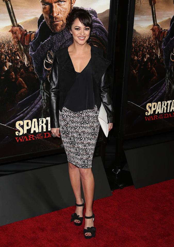 """Marisa Ramirez attends the premiere of Starz's """"Spartacus: War of the Damned"""" at Regal Cinemas L.A. Live on January 22, 2013 in Los Angeles, California."""