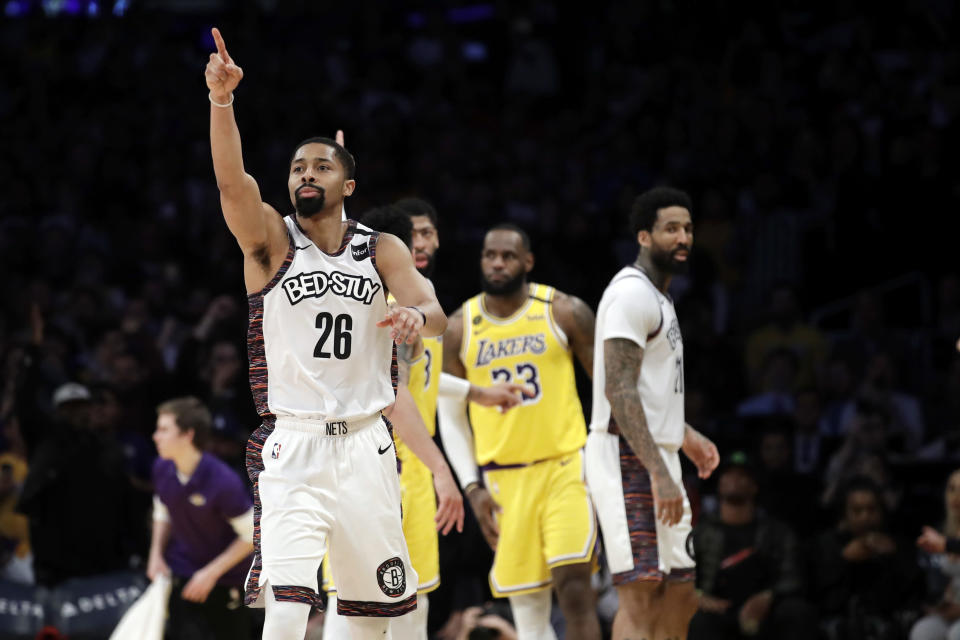 Brooklyn Nets' Spencer Dinwiddie (26) lobbies for a call to go in his team's favor during the second half of an NBA basketball game against the Los Angeles Lakers Tuesday, March 10, 2020, in Los Angeles. (AP Photo/Marcio Jose Sanchez)