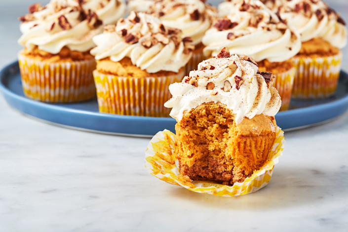 """<p>Marshmallow frosting? Sign me up. </p><p>Get the recipe from <a href=""""https://www.delish.com/cooking/recipe-ideas/recipes/a55096/sweet-potato-pie-cupcakes-recipes/"""" rel=""""nofollow noopener"""" target=""""_blank"""" data-ylk=""""slk:Delish"""" class=""""link rapid-noclick-resp"""">Delish</a>.</p>"""