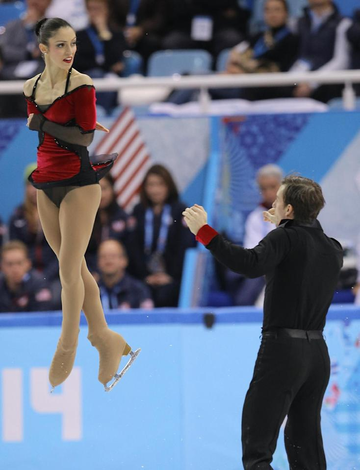 Stefania Berton and Ondrej Hotarek of Italy compete in the team pairs free skate figure skating competition at the Iceberg Skating Palace during the 2014 Winter Olympics, Saturday, Feb. 8, 2014, in Sochi, Russia. (AP Photo/Vadim Ghirda)