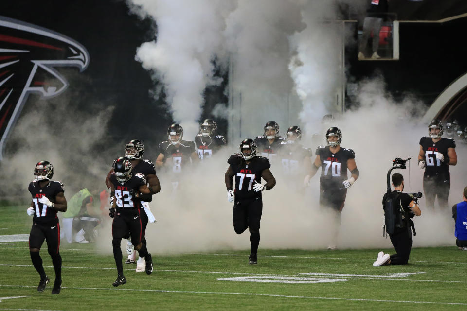 ATLANTA, GEORGIA - OCTOBER 11: The Atlantean Falcons take to the field before the 5th week of the NFL between the Atlanta Falcons and Carolina Panthers at the Mercedes-Benz Stadium on October 11, 2020 in Atlanta, Georgia.  (Photo by David J. Griffin / Icon Sportswire via Getty Images)