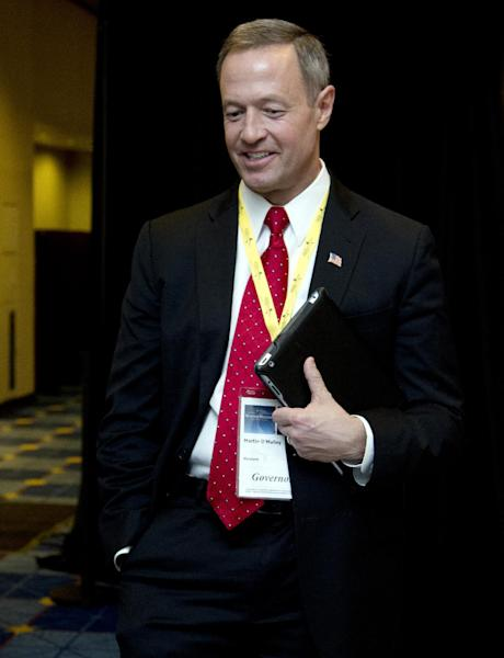 FILE - Maryland Gov. Martin O'Malley attends the National Governors Association 2013 Winter Meeting in Washington, in this Feb. 24, 2013 file photo. Gov. Martin O'Malley, a Democrat, has been pushing for the change since his first year in office. A repeal bill has already been approved by the state Senate and it was expected to win final passage from the House of Delegates on Friday March 15, 2013. (AP Photo/Manuel Balce Ceneta, File)