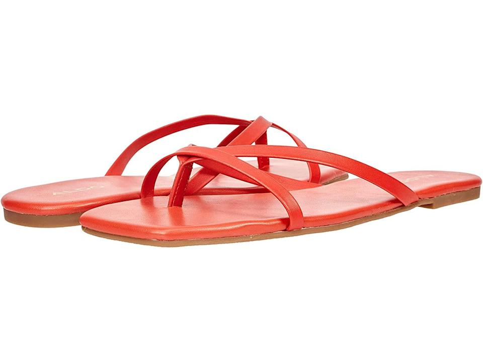 """<h2>Cheap Strappy Sandals</h2><br>Elevate your summer look without any excess coverage — or an excess of dollar signs. <br><br><strong>Aldo</strong> Kederi Sandals, $, available at <a href=""""https://go.skimresources.com/?id=30283X879131&url=https%3A%2F%2Fwww.zappos.com%2Fp%2Faldo-kederi-orange%2Fproduct%2F9505011%2Fcolor%2F535"""" rel=""""nofollow noopener"""" target=""""_blank"""" data-ylk=""""slk:Zappos"""" class=""""link rapid-noclick-resp"""">Zappos</a>"""