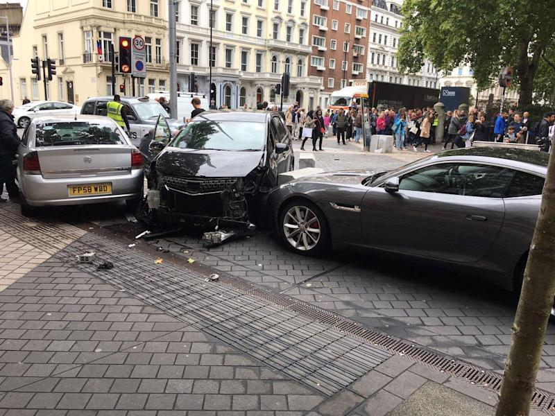 A crashed car following an incident outside the Natural History Museum (Stefano Sutter)