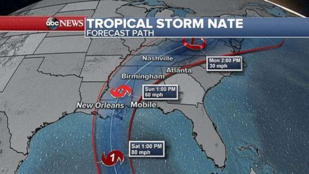 Nate's projected track could lead to a hit on New Orleans this weekend. (ABC NEWS)