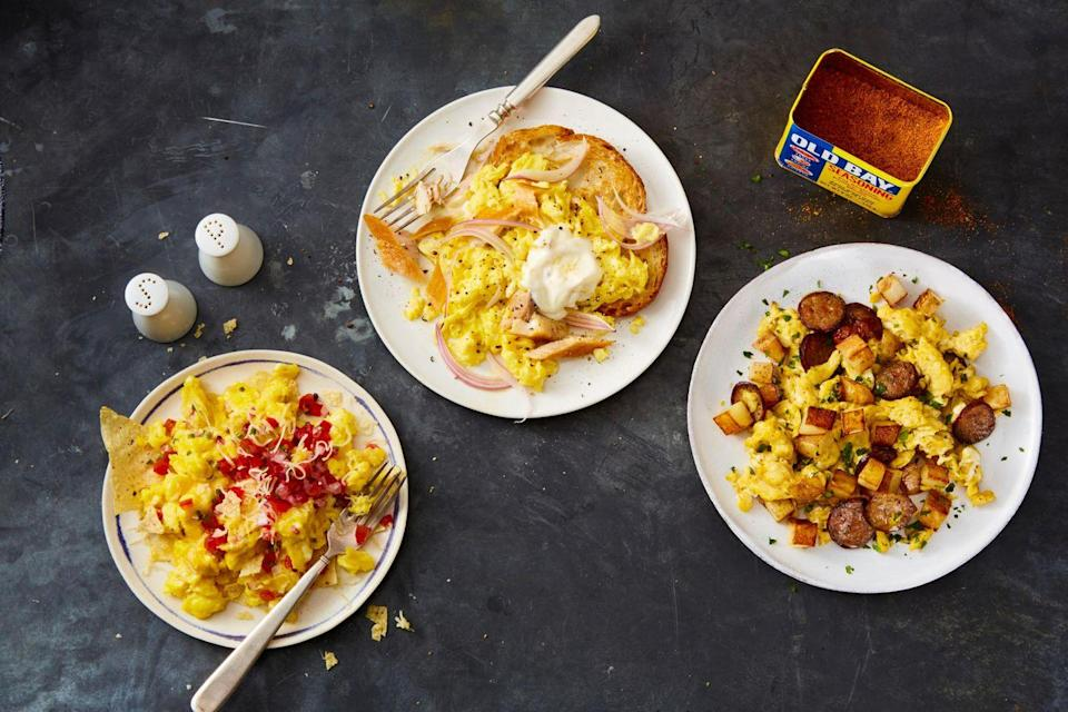 "<p>Breakfast for dinner! Migas is packed with fluffy scrambled eggs, tortilla chips, and pico de gallo.</p><p><em><a href=""https://www.goodhousekeeping.com/food-recipes/a35540358/easy-migas-recipe/"" rel=""nofollow noopener"" target=""_blank"" data-ylk=""slk:Get the recipe for Migas »"" class=""link rapid-noclick-resp"">Get the recipe for Migas »</a></em></p>"